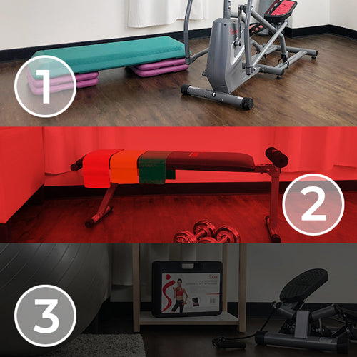 collage of home gym equipment