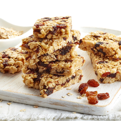a plate of granola bars