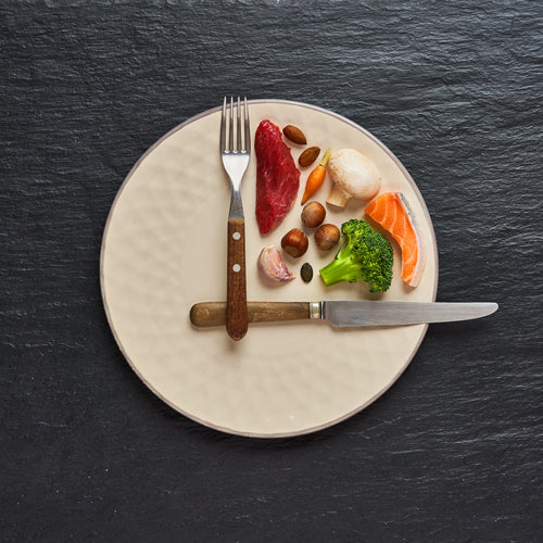 food on a plate with knife and folk make it like a clock