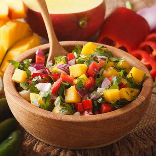 a bowl of mango salsa