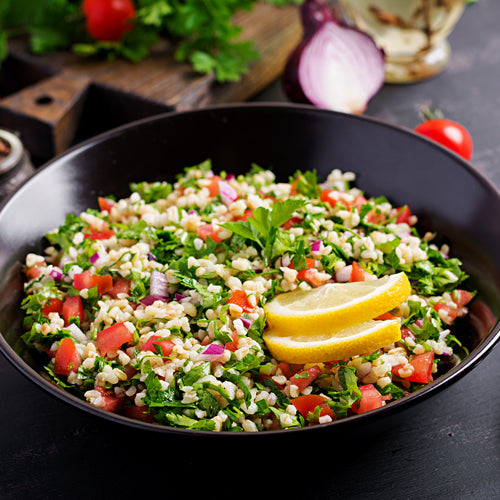 a bowl of couscous salad