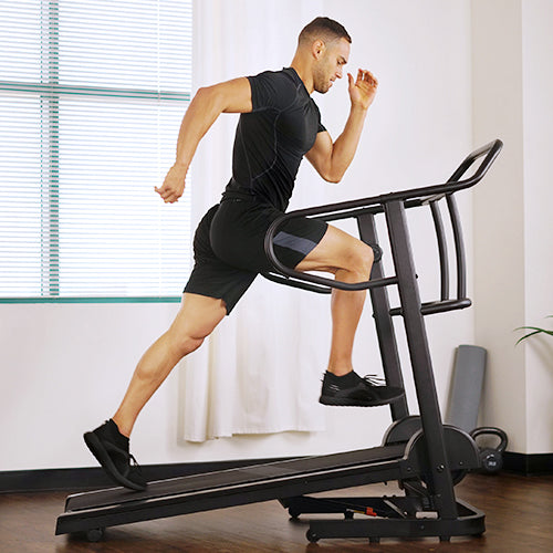 a man running on treadmill