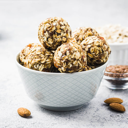 peanut butter chocolate chip bites in a bowl