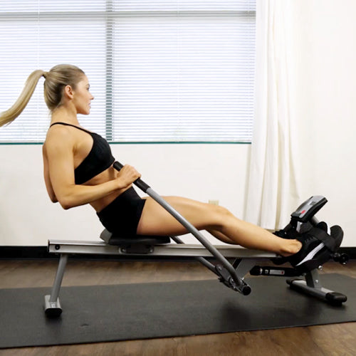 a woman is rowing