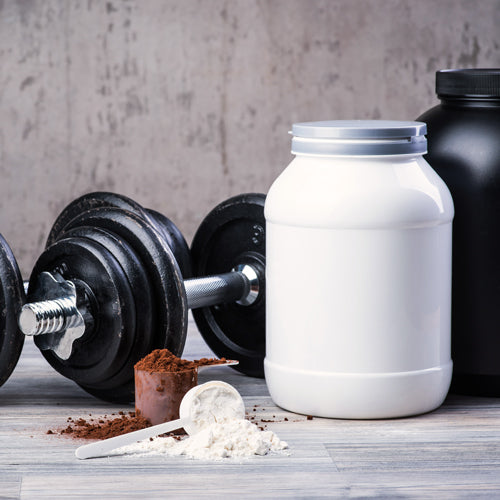 dumbbell and supplement