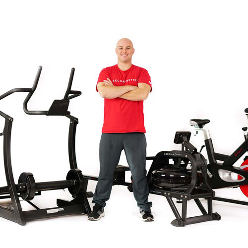 Sunny trainer Matt with Sunny products in front of white background