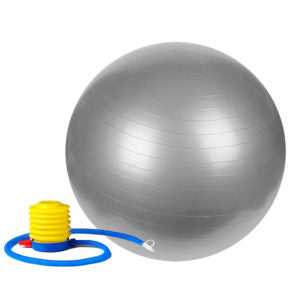 silver gym ball with pump