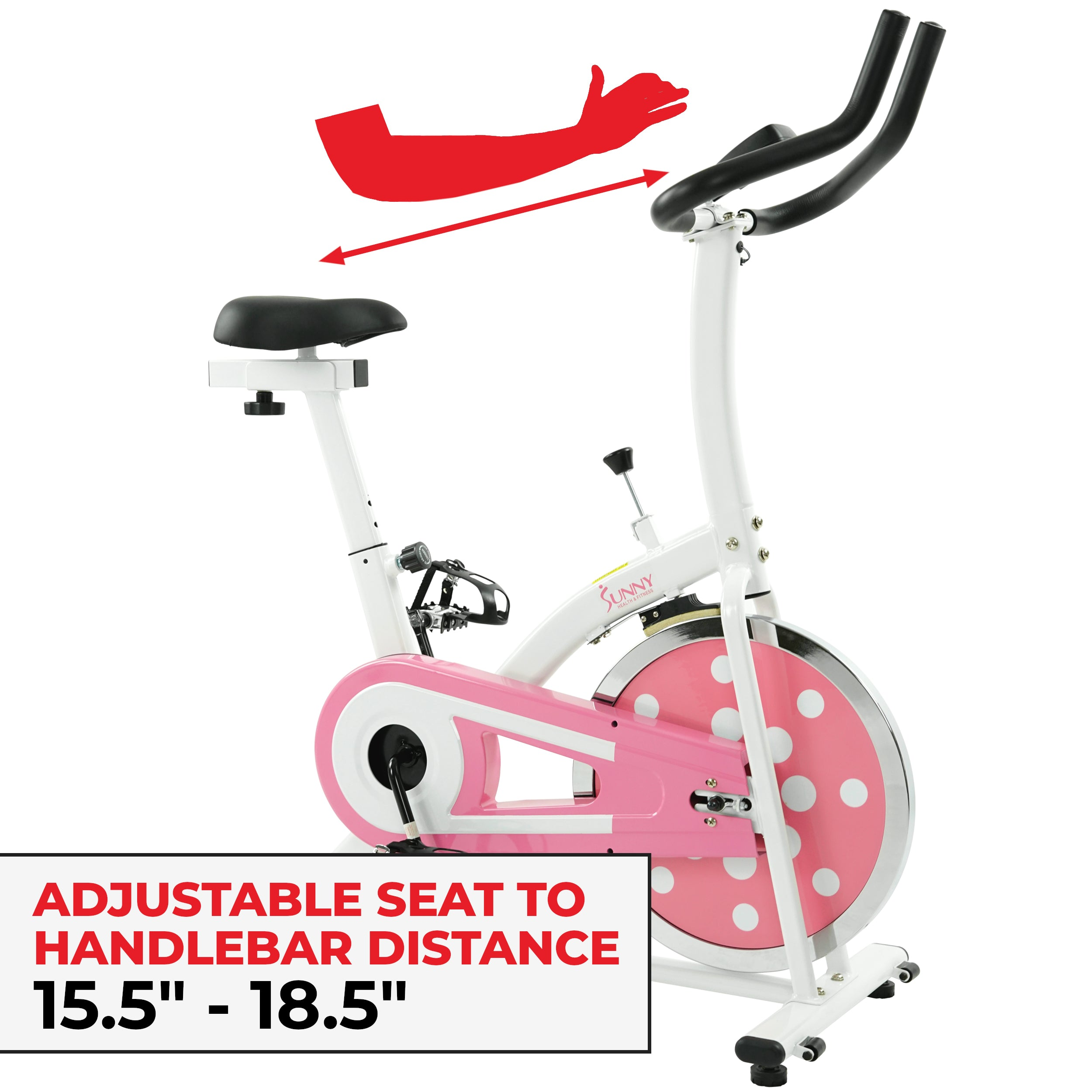 sunny-health-fitness-bikes-pink-chain-drive-indoor-cycling-trainer-P8100-fitting
