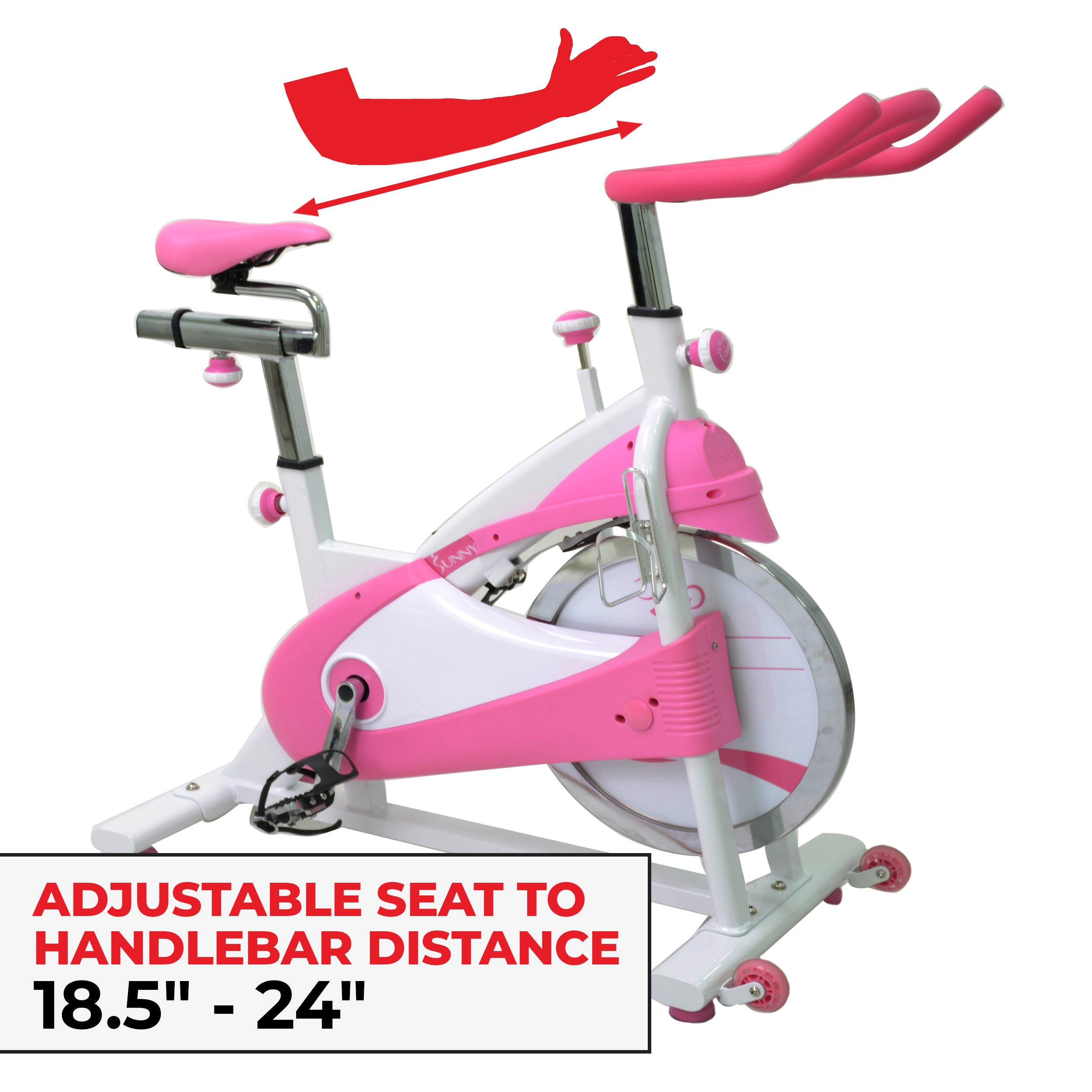 sunny-health-fitness-bikes-pink-belt-drive-premium-indoor-cycling-trainer-P8150-fitting