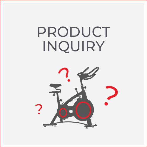 product inquiry; 3 question marks around indoor cycle bike icon