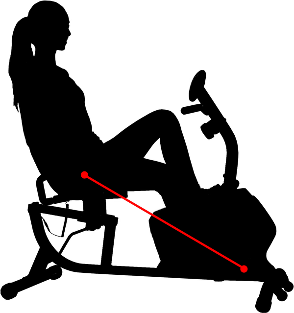 silhouette of woman sitting in recumbent bike with red line indicating inseam