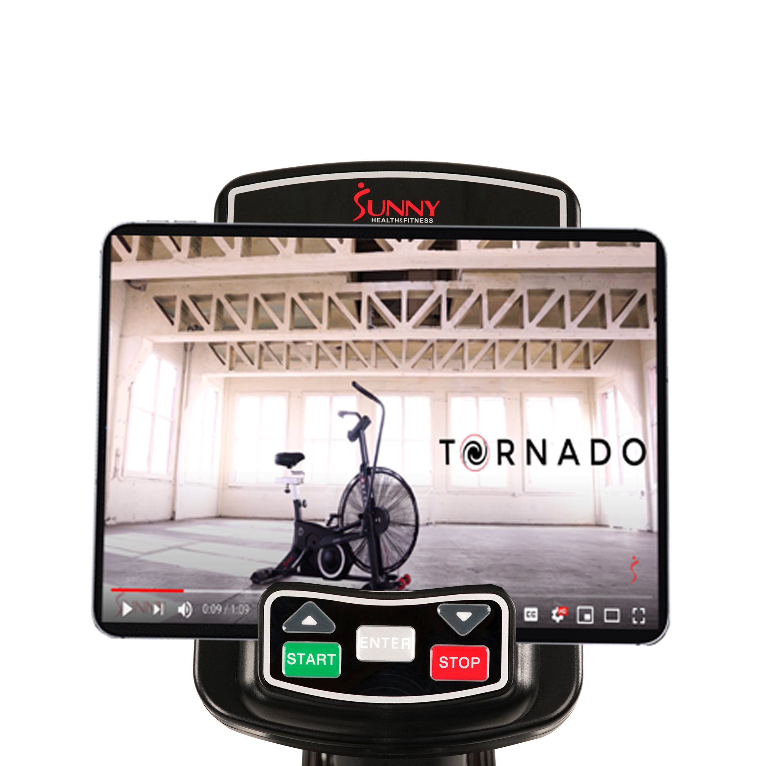 sunny-health-fitness-bikes-exercise-fan-bike-bluetooth-heart-rate-compatibility-tornado-LX-SF-B2729-monitor
