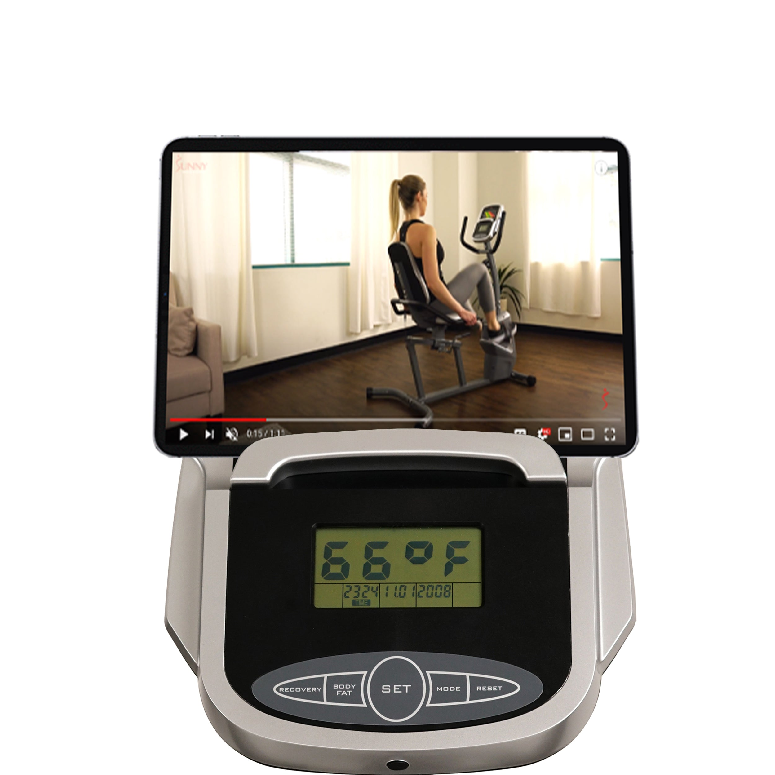 sunny-health-fitness-bikes-magnetic-recumbent-exercise-bike-easy-adjustable-seat-tablet-holder-RPM-pulse-rate-SF-RB4806-monitor