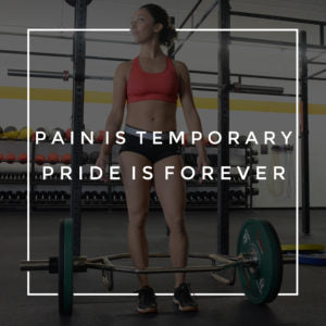 pain is temporary pride is forever text overlay on image of woman standing with barbell