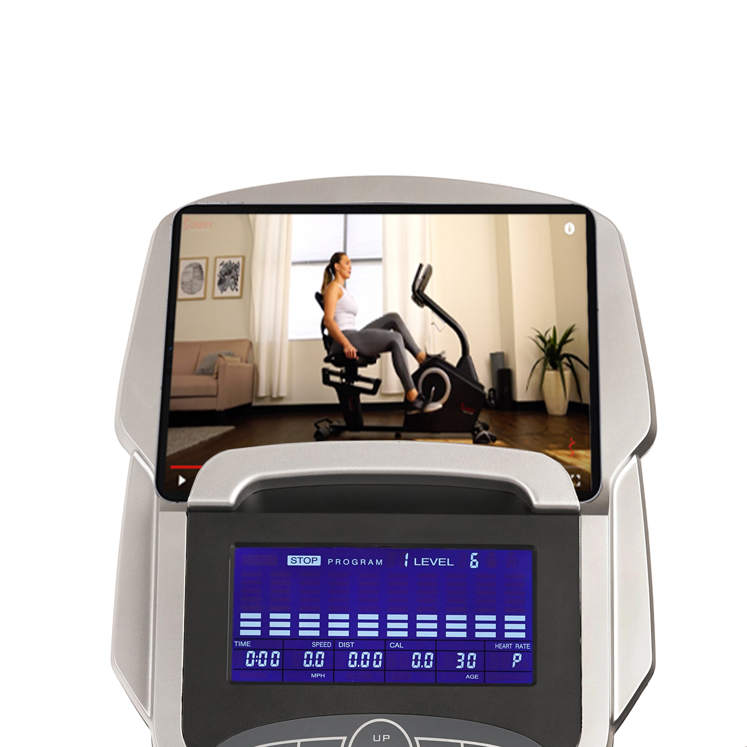 sunny-health-fitness-bikes-stationary-recumbent-bike-programmable-display-16-level-magnetic-resistance-ipad-tablet-holder-SF-RB4850-deviceholder