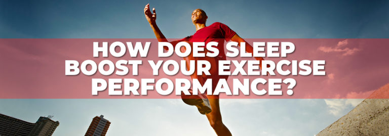 How does sleep boost your exercise performance banner with man jumping