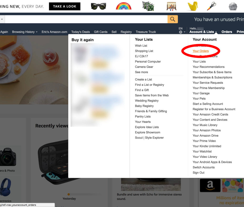 screenshot of amazon website with red outlined circle around Your Orders
