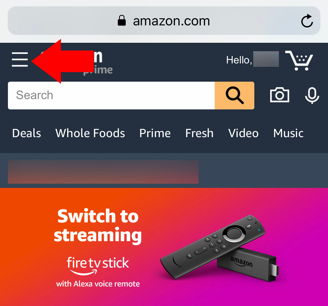 screenshot of amazon with arrow pointing to three line menu