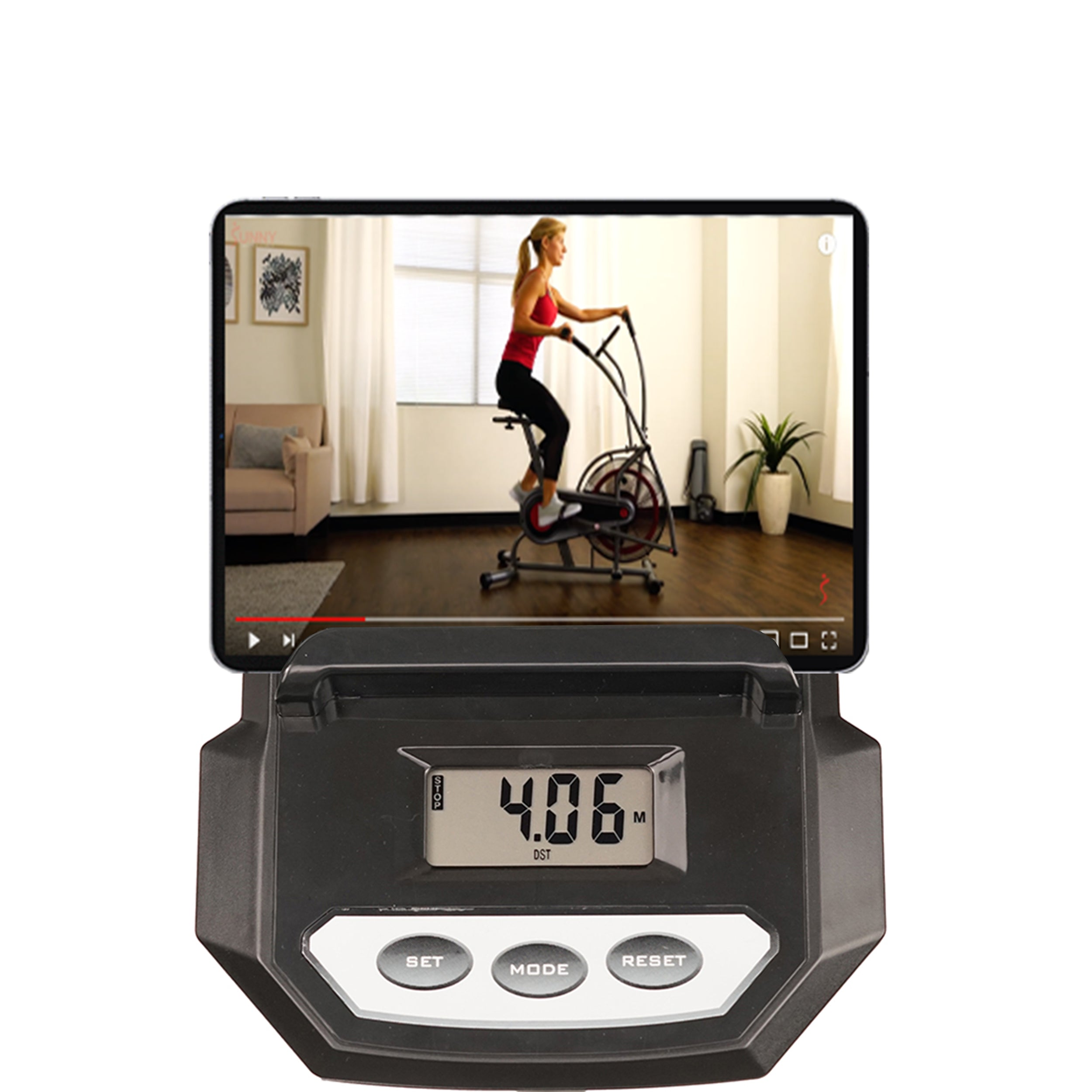 sunny-health-fitness-bikes-motion-air-bike-fan-exercise-bike-unlimited-resistance-tablet-holder-SF-B2916-monitor