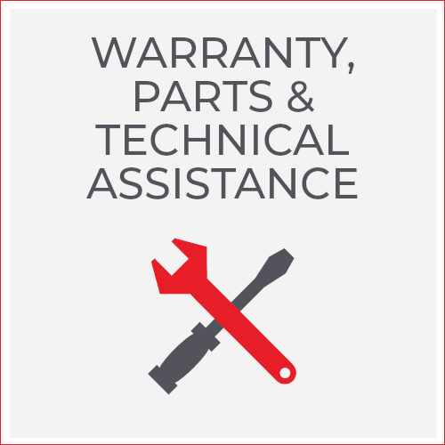 warranty, parts and technical assistance; wrench and screwdriver icons