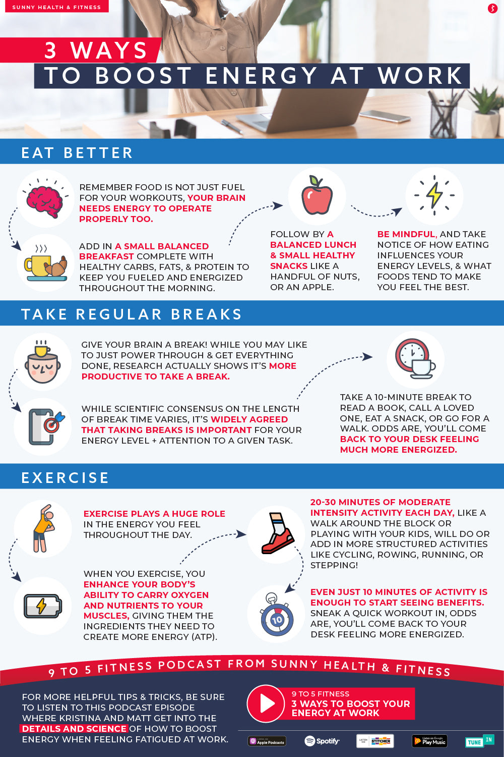 3 Ways to Boost Energy at Work Infographic