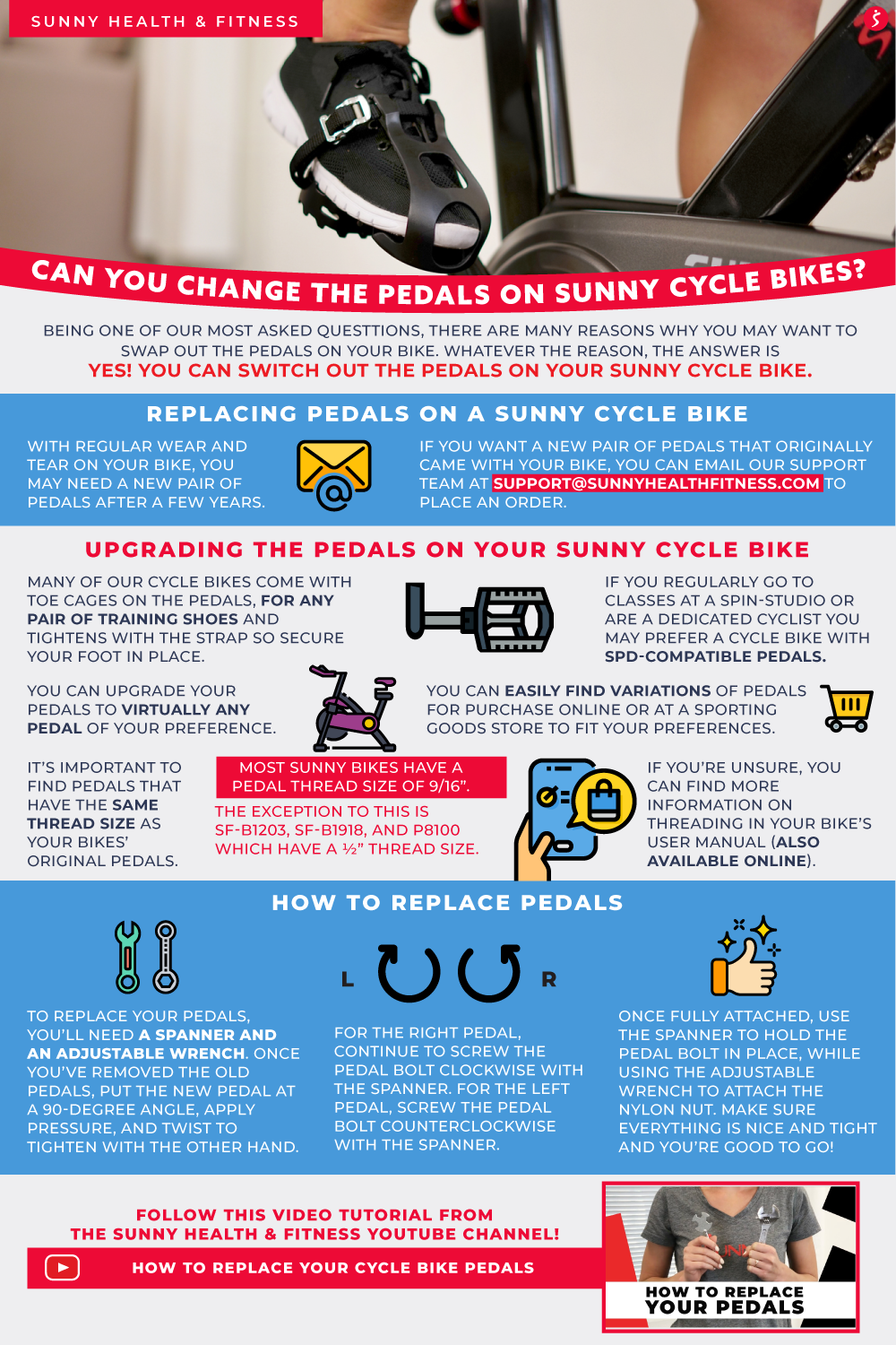Can You Change the Pedals on Sunny Cycle Bikes Infographic