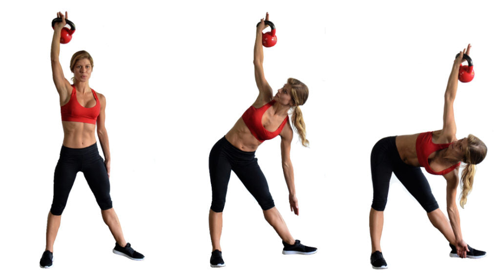 three images of woman lifting kettlebell and then reaching hand to foot