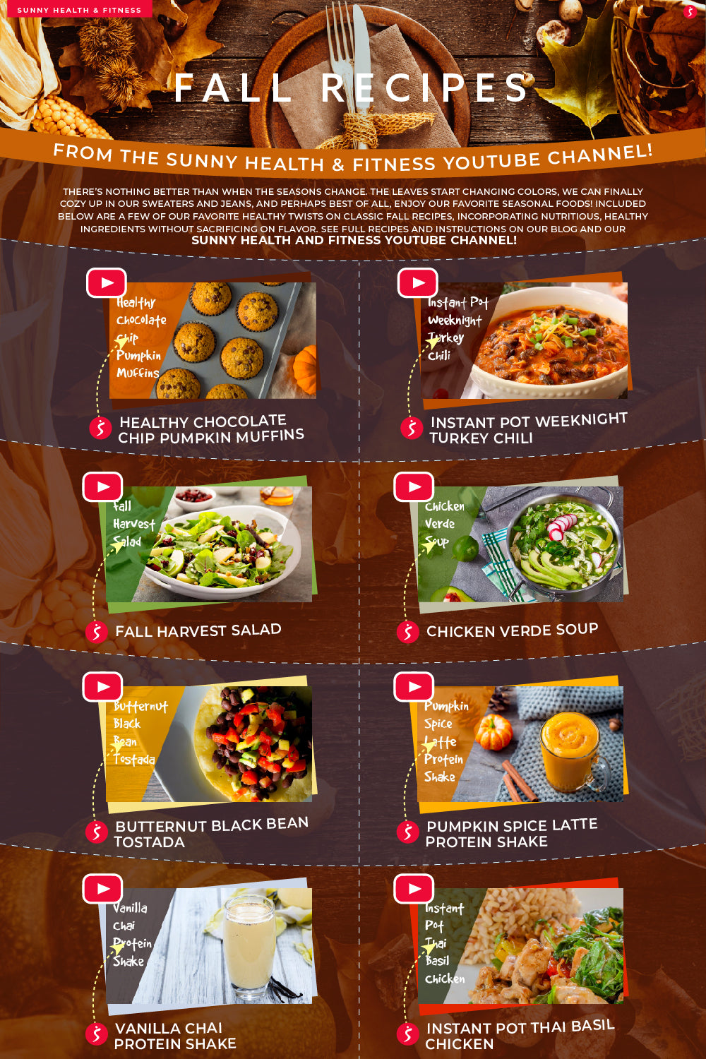 8 Easy & Healthy Fall Recipes Infographic