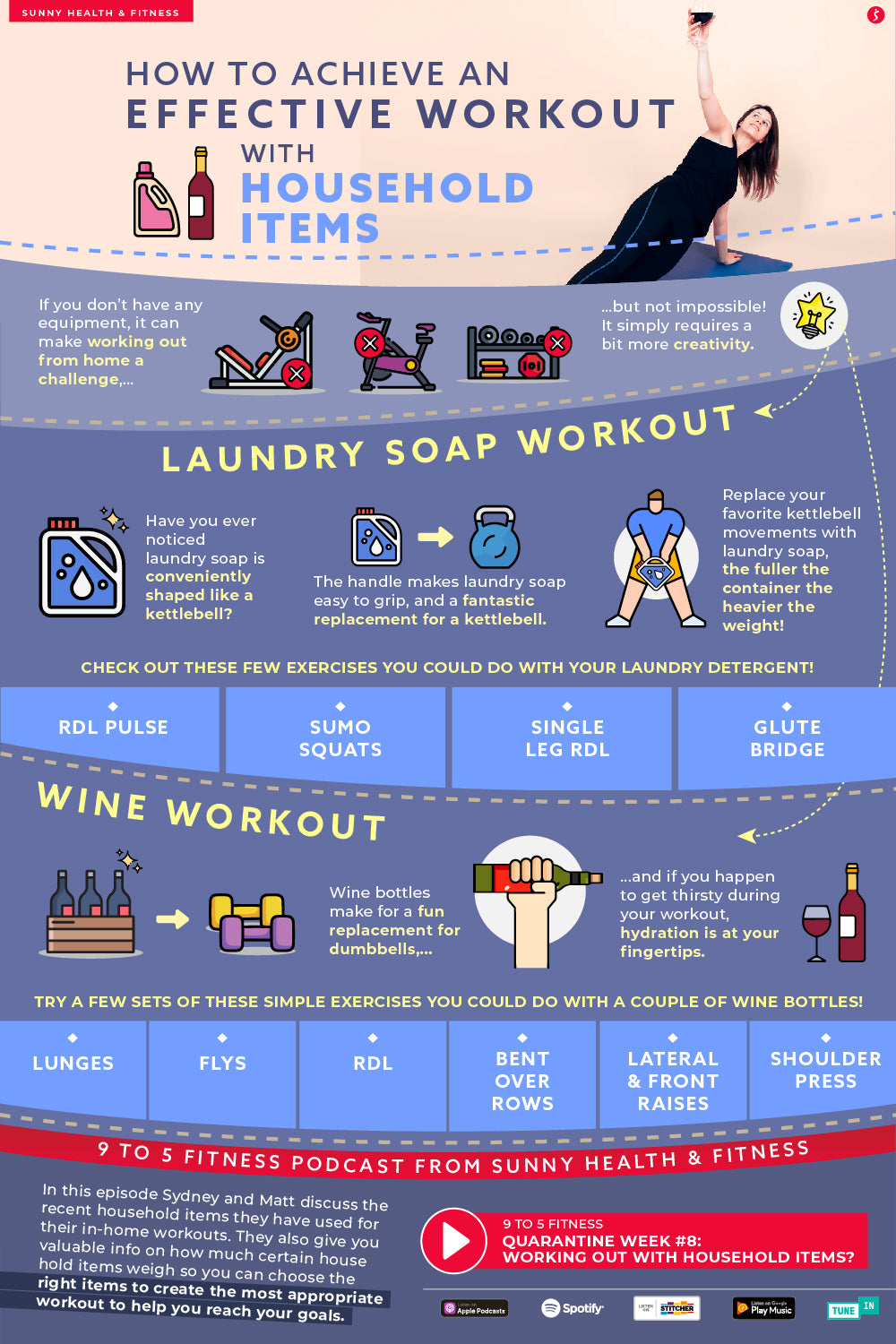 How to Achieve an Effective Workout with Household Items Infographic
