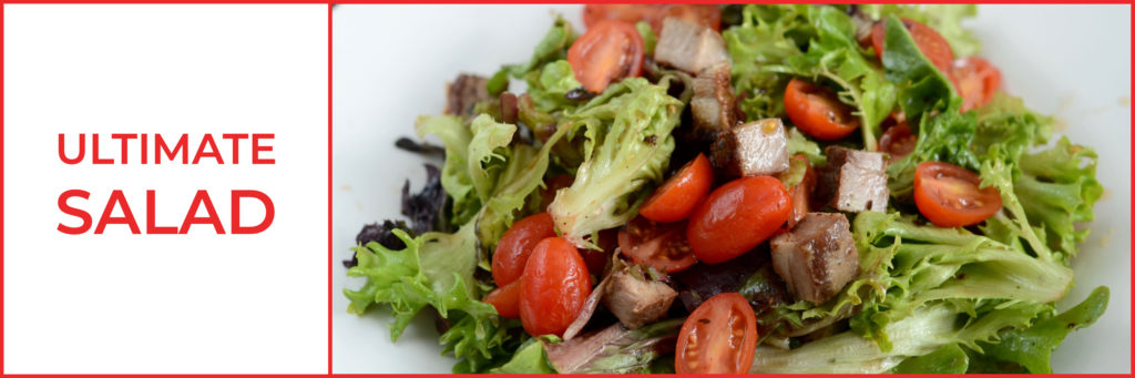 ultimate salad, salad with tomatoes and steak