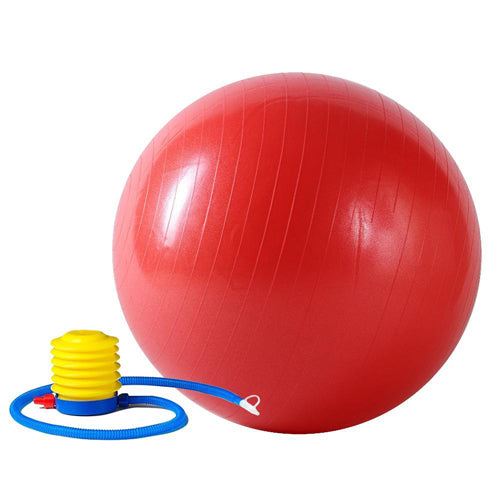 red gym ball with pump