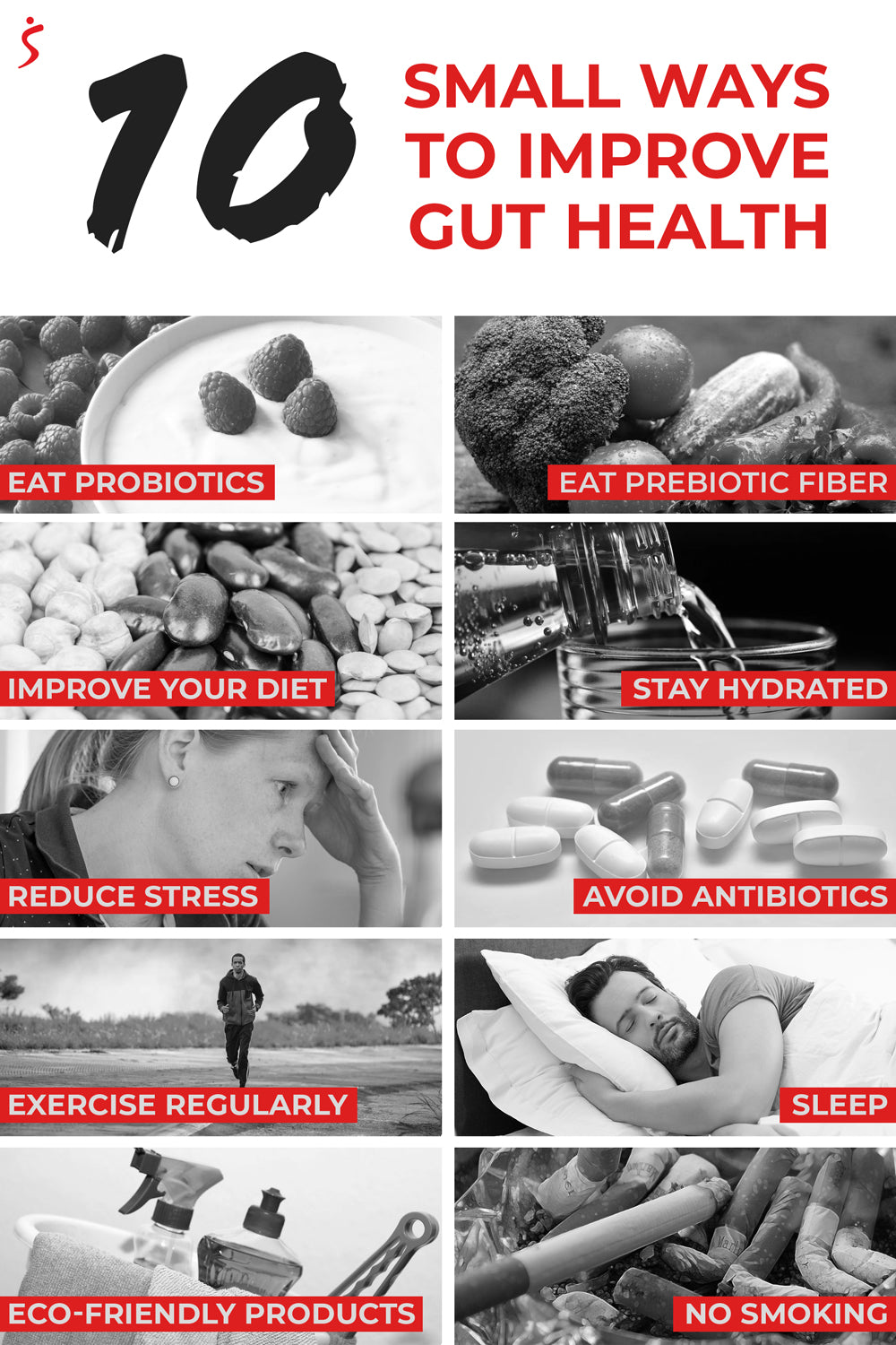 10 small ways to improve gut health collage of 10 images and tips