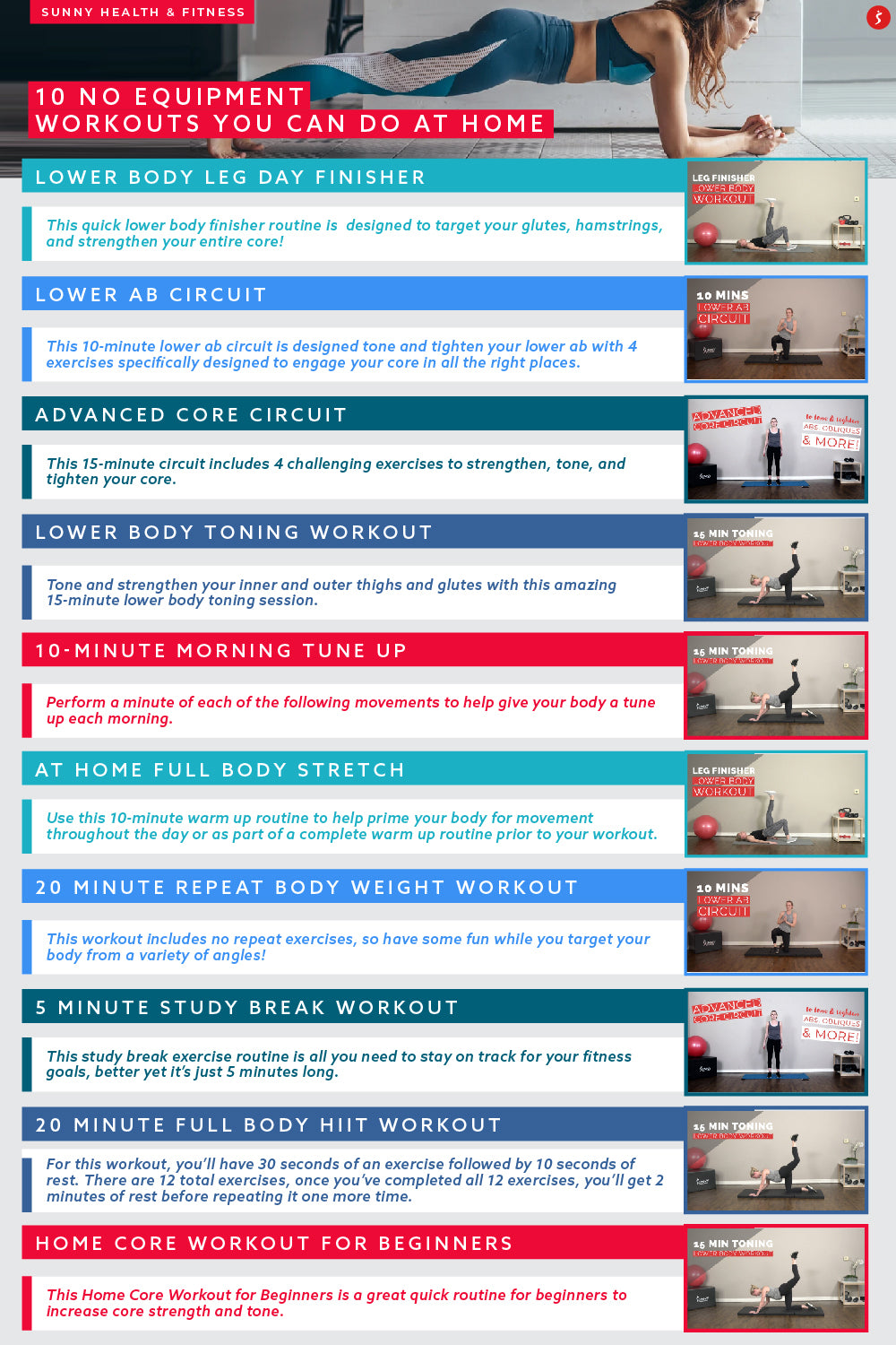 10 No Equipment At Home Workouts Infographic