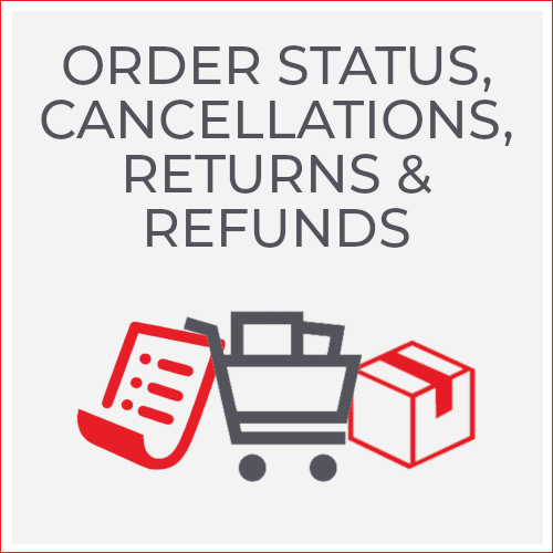 Order Status, Cancellations, Returns & Refunds; paper, shopping cart, box icons