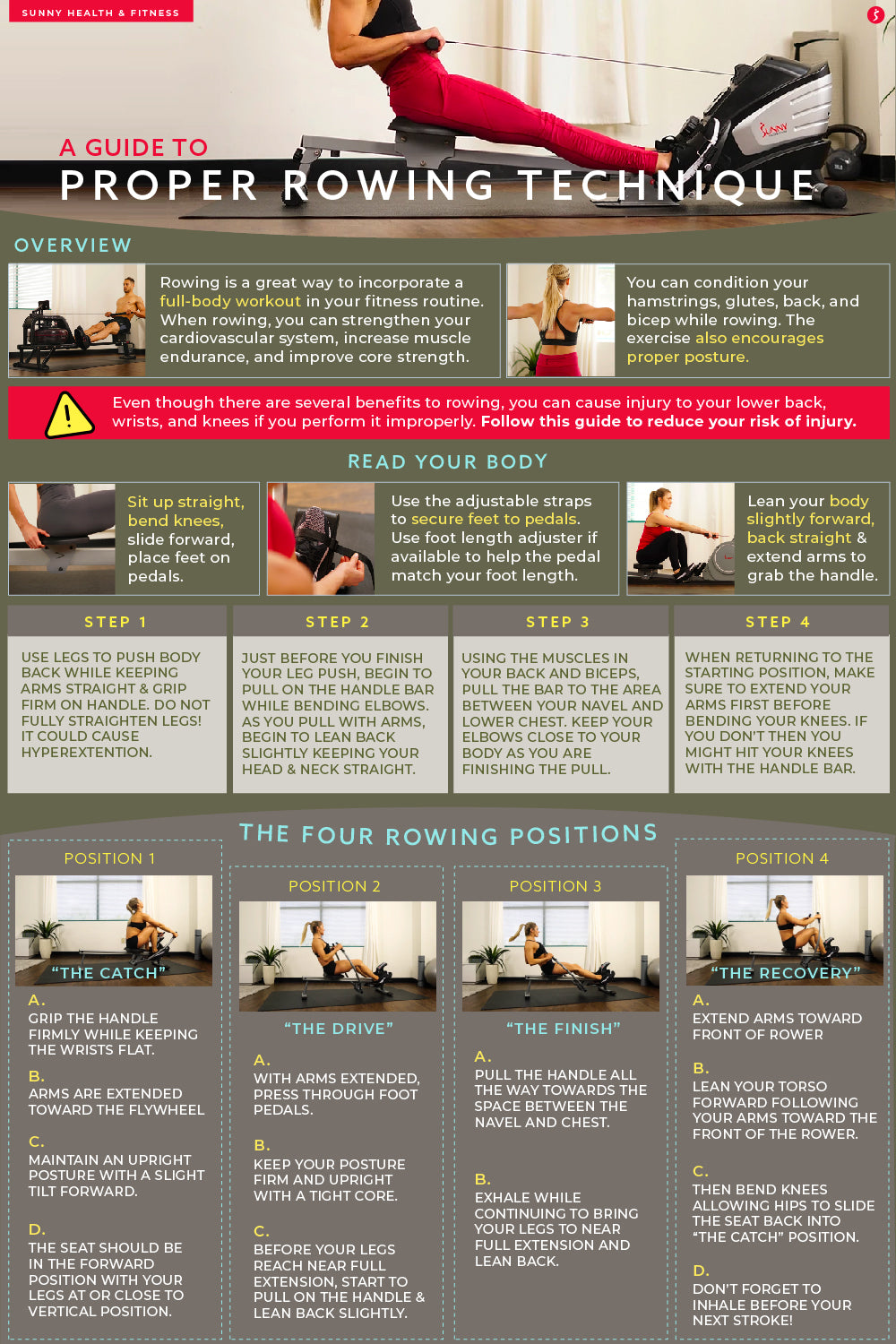 A Guide to Proper Rowing Technique Infographic