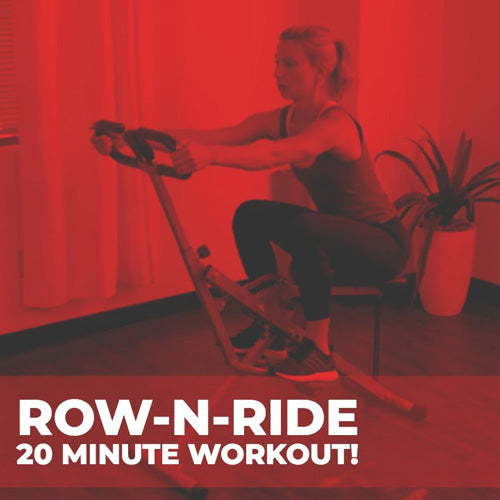 a woman squatting, rowing and riding