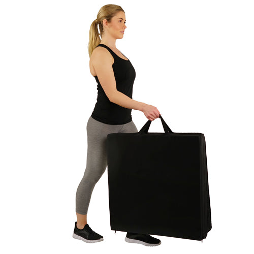 sunny-health-fitness-accessories-tri-folding-exercise-gymnastic-mat-extra-thick-with-carry-handles-No.048-Convenient-Nylon-Straps