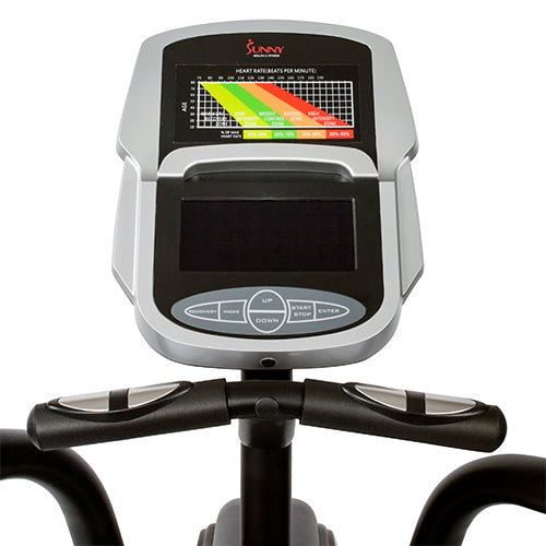 sunny-health-fitness-bikes-motorized-elliptical-machine-tablet-holder-programmable-monitor-heart-rate-monitoring-SF-E3875-monitor