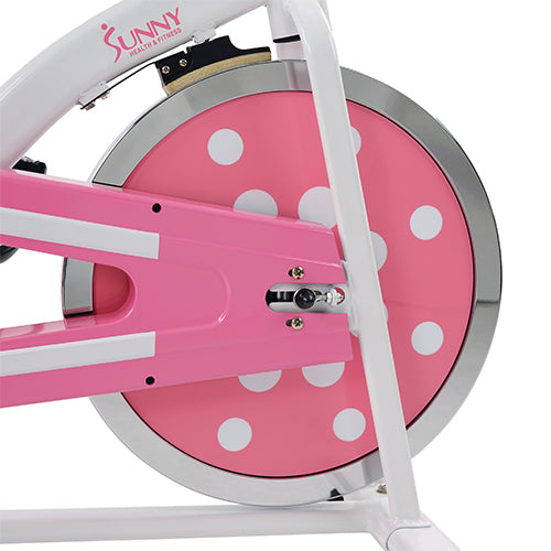 sunny-health-fitness-bikes-pink-chain-drive-indoor-cycling-trainer-P8100-flywheel