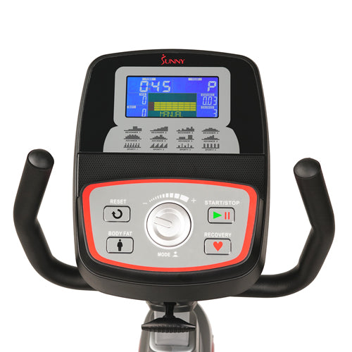 sunny-health-fitness-bikes-stationary-recumbent-bike-exercise-bike-self-powered-cycling-USB-charging-function-SF-RB4880-monitor