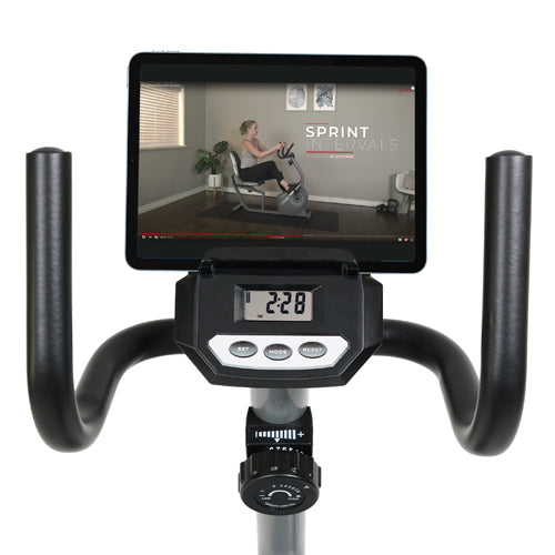 sunny-health-fitness-bikes-magnetic-recumbent-bike-with-soft-support-seat-SF-RB4876-device-holder