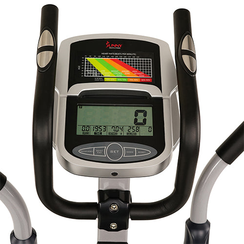 sunny-health-fitness-ellipticals-magnetic-elliptical-machine-tablet-holder-LCD-monitor-heart-rate-monitoring-enderance-zone-SF-E3804-monitor