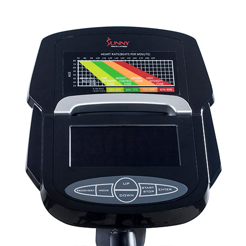 sunny-health-fitness-ellipticals-magnetic-elliptical-machine-tablet-holder-LCD-monitor-heart-rate-monitoring-stride-zone-SF-E3865-monitor