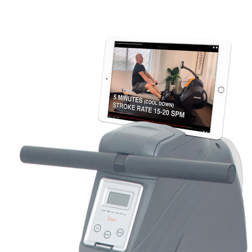 sunny-health-fitness-rowers-magnetic-rowing-machine-rower-11-lb-flywheel-LCD-monitor-tablet-holder-SF-RW5856-device-holder