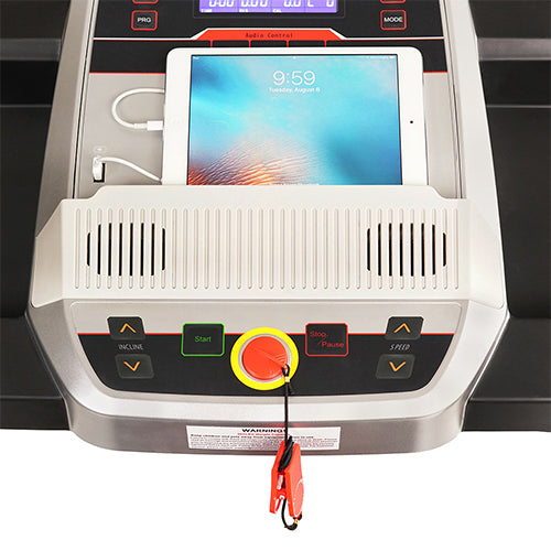 sunny-health-fitness-treadmills-incline-treadmill-bluetooth-speakers-USB-charging-function-SF-T7917-holder
