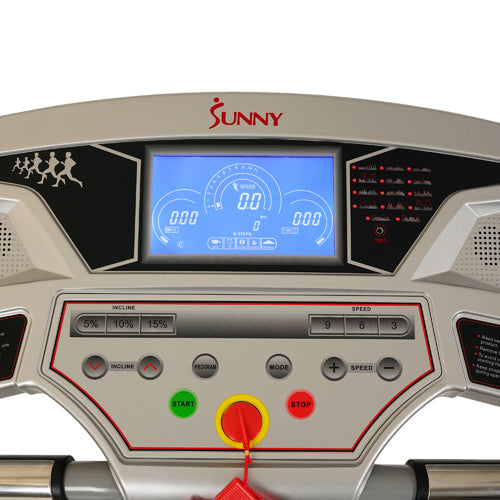 sunny-health-fitness-treadmills-performance-treadmill-high-weight-capacity-15-levels-auto-incline-MP3-body-fat-function-SF-T7874-monitor