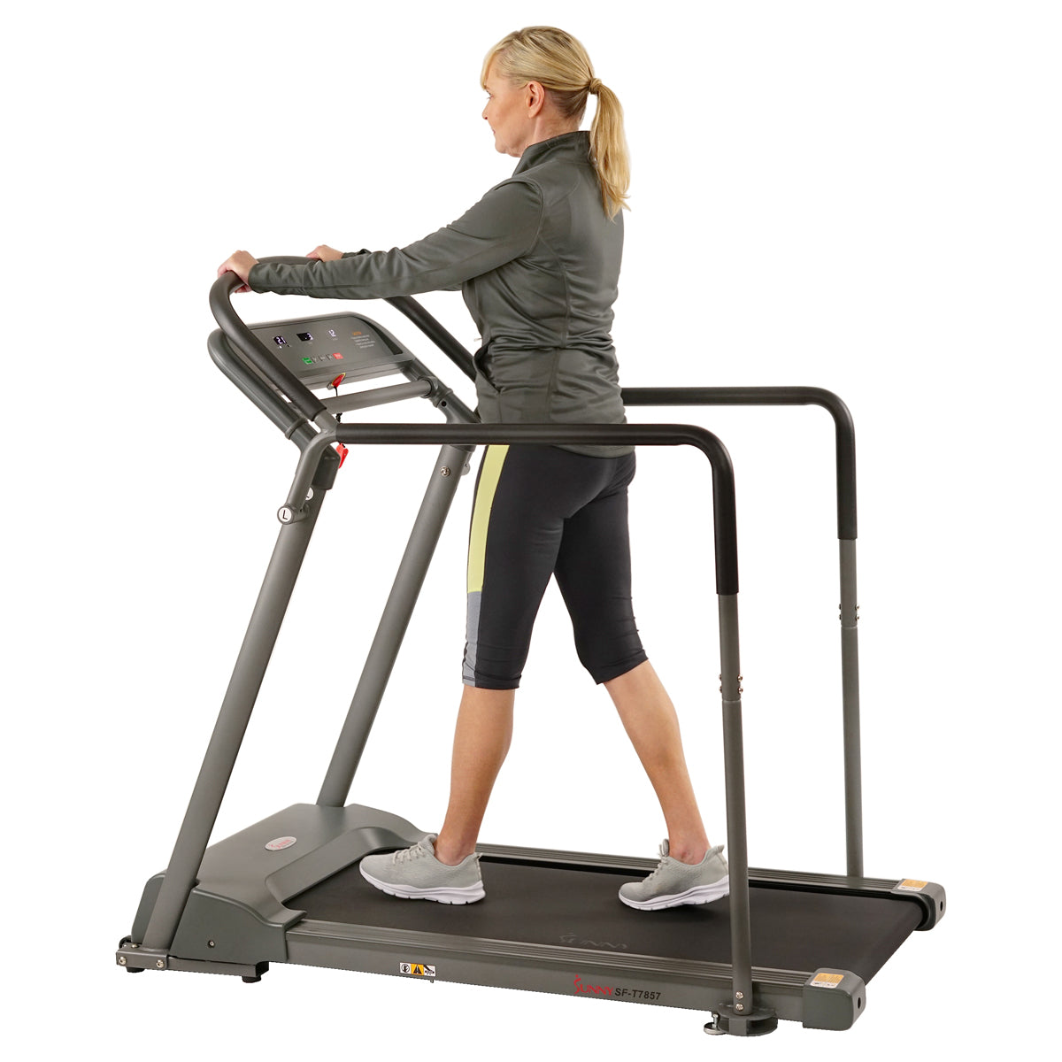 sunny-health-fitness-treadmills-recovery-walking-treadmill-low-pro-deck-multi-grip-handlerails-mobility-balance-support-SF-T7857-shockabsorption