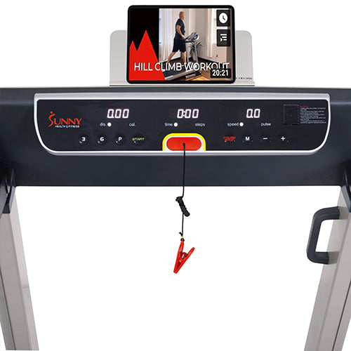 sunny-health-fitness-treadmills-running-treadmill-20-wide-belt-flat-folding-low-pro-portability-speakers-USB-SF-T7718-device-holder