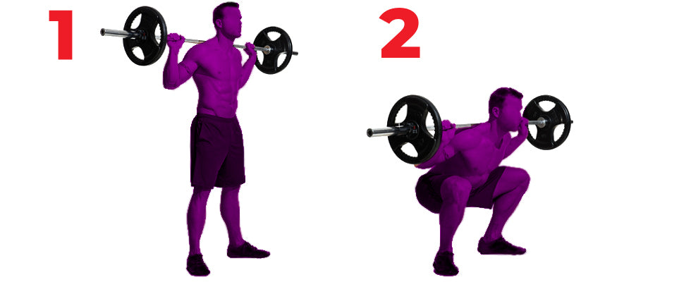 silhouettes of man performing barbell squats