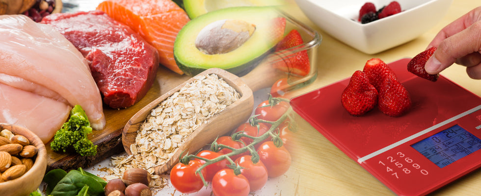 raw meat, grains, tomatoes, strawberries on food scale